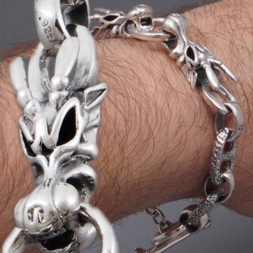 DRAGON KING CROWN SKULL CHAIN 925 STERLING SOLID SILVER MENS BRACELET