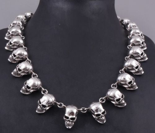huge heavy skull 925 sterling silver mens rocker biker necklace