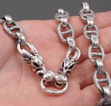 dragon skull heavy links 925 sterling solid silver mens necklace chain