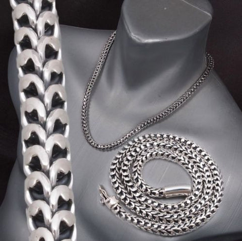 HUGE HEAVY DRAGON SCALE MENS NECKLACE CHAIN 925 STERLING SOLID SILVER