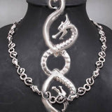 dragon snake art chain handmade mens necklace 925 sterling solid silver