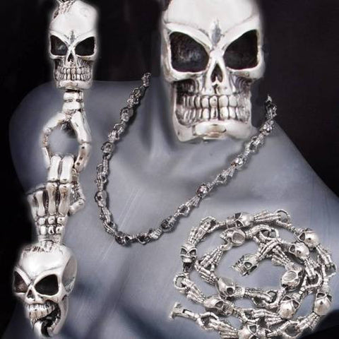 HEAVY SKULL SKELETON HANDS 925 STERLING SILVER MENS ROCKER BIKER NECKLACE