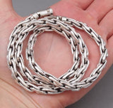 WOVEN HEAVY DOUBLE LINKS BARAKA CHAIN 925 STERLING SILVER MENS NECKLACE