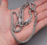 2 head dragon scale handmade mens necklace 925 sterling solid silver