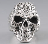 huge heavy tattoo skull skeleton 925 sterling solid silver mens ring biker rocker