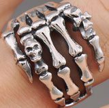 skull skeleton hand 925 sterling solid silver ring biker rocker
