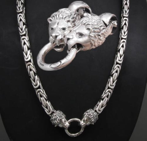 10mm ROUND HEAVY LION BALI BYZANTINE 925 STERLING SILVER MENS NECKLACE KING CHAIN