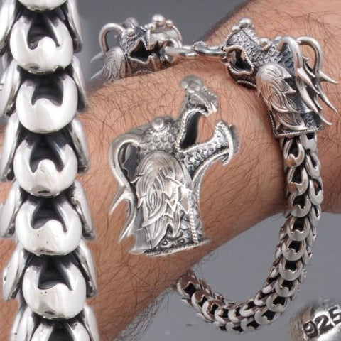 2 HEAD HUGE HEAVY DRAGON SCALE MENS BRACELET 925 STERLING SOLID SILVER