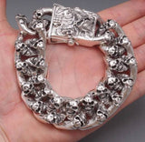 "9"" EXTREM BIG HEAVY CHUNKY BIKER CURB CHAIN SKULL 925 STERLING SILVER MENS BRACELET"