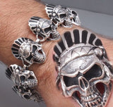huge heavy black indian skull 925 sterling silver mens biker bracelet