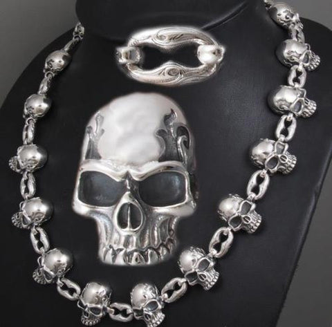 HUGE HEAVY SKULL CURB LINK 925 STERLING SILVER MENS ROCKER BIKER NECKLACE