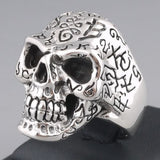 25g HUGE HEAVY ART TRIBAL TATTOO SKULL SKELETON BIKER 925 STERLING SOLID SILVER MENS RING