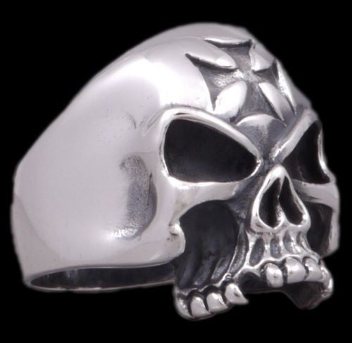 german iron cross skull skeleton 925 sterling solid silver ring biker rocker