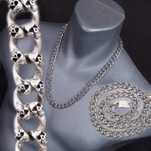 biker rocker skull curb chain 925 sterling solid silver mens necklace