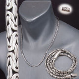 4mm ROUND BALI BYZANTINE 925 STERLING SOLID SILVER MENS NECKLACE KING CHAIN