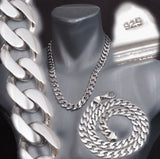 CLASSIC CURB CUBAN CHAIN HEAVY LINKS 925 STERLING SOLID SILVER MENS NECKLACE