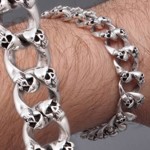 biker rocker multi skull cuban links 925 sterling silver mens bracelet