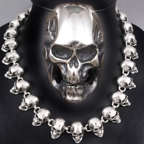 HUGE HEAVY  SHINY SKULL HEADS 925 STERLING SILVER MENS ROCKER BIKER NECKLACE