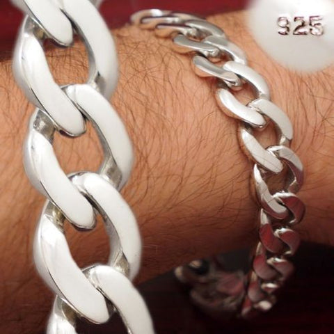 ROUNDED CURB LINKS CHAIN MENS BRACELET 925 STERLING SOLID SILVER