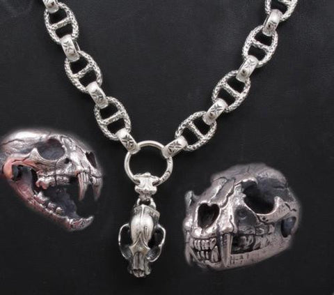LION TIGER KING SKULL 925 STERLING SOLID SILVER MENS NECKLACE CHAIN