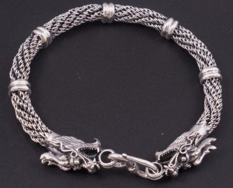 DOUBLE DRAGON HANDMADE WOVEN 925 STERLING SOLID SILVER MENS BRACELET