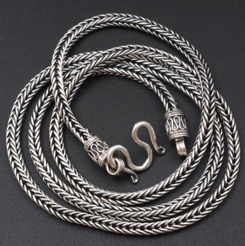 HANDMADE WOVEN SNAKE CHAIN MENS NECKLACE 925 STERLING SOLID SILVER WITH W CLASP
