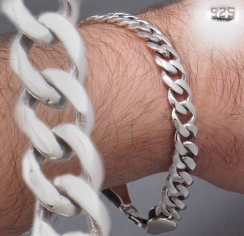 CURB LINK CHAIN STAMPED 925 STERLING SOLID SILVER MENS BRACELET