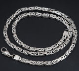 5mm SQUARE SHAPE BALI BYZANTINE 925 STERLING SILVER MENS NECKLACE KING CHAIN