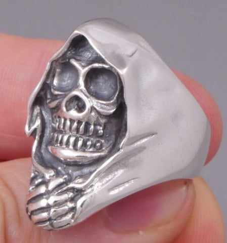 grim reaper skull skeleton 925 sterling solid silver ring biker rocker