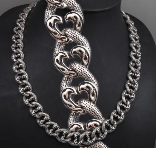TRIBAL CURB CHAIN HEAVY LINKS 925 STERLING SOLID SILVER MENS NECKLACE