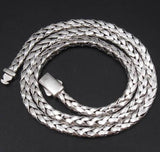 HANDMADE WOVEN BRAIDED SHINY 925 STERLING SILVER MENS NECKLACE CHAIN