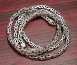 4mm SQUARE SHAPE BALI BYZANTINE 925 STERLING SILVER MENS NECKLACE KING CHAIN