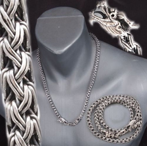 DRAGON SNAKE HANDMADE WOVEN 925 STERLING SILVER MENS NECKLACE CHAIN