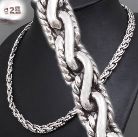 artisan tribal braided chain 925 sterling solid silver mens necklace