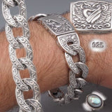 HEAVY ART CURB LINK HEART WINGS 925 STERLING SOLID SILVER MENS BRACELET