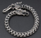 DOUBLE DRAGON SNAKE HANDMADE WOVEN 925 STERLING SILVER MENS BRACELET