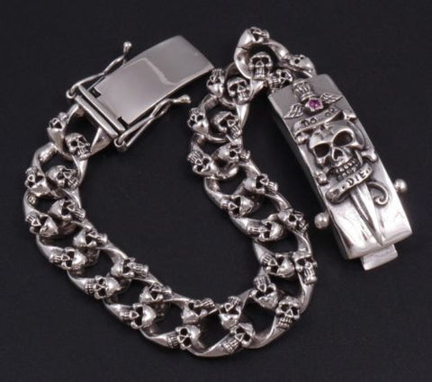 DO OR DIE SKULL CURB LINK CHAIN 925 STERLING SILVER MENS BRACELET
