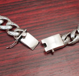HEAVY ART DESIGNED CURB CHAIN 925 STERLING SILVER MENS NECKLACE CHAIN