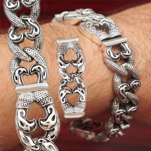 HUGE HEAVY CURB LINKS TRIBAL 925 STERLING SOLID SILVER MENS BRACELET