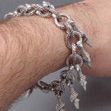HEAVY DRAGON CROCODILE PREDATOR CLAW 925 STERLING SILVER MENS BRACELET