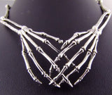 SKELETON HAND SKULL GOTHIC 925 STERLING SOLID SILVER MENS NECKLACE CHAIN