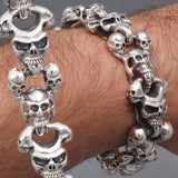 HUGE HEAVY TRIBAL SKULL 925 STERLING SILVER MENS ROCKER BIKER BRACELET