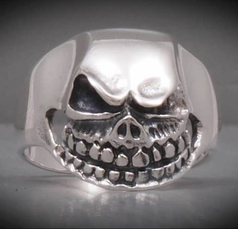 tribal skull skeleton 925 sterling solid silver ring biker rocker