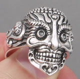 7.5g ARTISAN TRIBAL MEXICAN SUGAR SKULL SNAKE 925 STERLING SILVER MENS RING