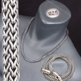 ARTISAN BRAIDED WOVEN SNAKE 925 STERLING SILVER TRIBAL MENS NECKLACE CHAIN