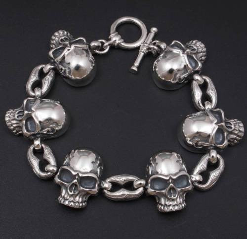 HUGE HEAVY SKULL CURB LINK 925 STERLING SILVER MENS ROCKER BIKER BRACELET