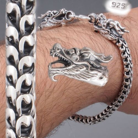 2 head dragon scale handmade mens womens bracelet 925 sterling silver
