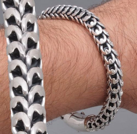 9mm HUGE HEAVY DRAGON SCALE MENS BRACELET CHAIN 925 STERLING SOLID SILVER