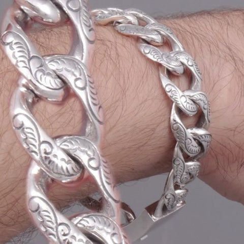 HEAVY ART DESIGNED CURB CHAIN 925 STERLING SOLID SILVER MENS BRACELET