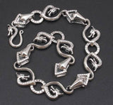 DRAGON SNAKE ART CHAIN HANDMADE MENS BRACELET 925 STERLING SOLID SILVER